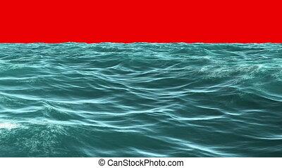 agitado, oceano azul, sob, vermelho, tela