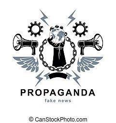 agitation., ポスター, 鉄, 囲まれた, 上げられた, 革命, いいえ, ベクトル, 腕, 宣伝, ...