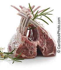 agneau, cru, côtes, etagères