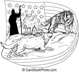 Agneau dessin mains gravure agneau illustration - Dessin loup et agneau ...