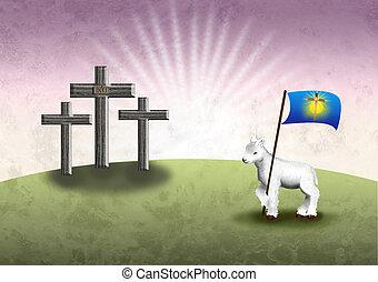 agneau, dieux, paques, ba, victoire