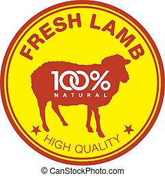 agneau, frais, étiquette