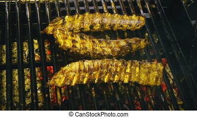 agneau, gril, gril, côtes, cuisine, croûte, juteux, appétissant, grillé, barbecue, viande