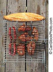 agneau, gril, viande, saucisses, barbecue, pain