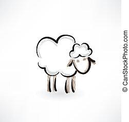 agneau, grunge, icône