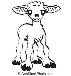 agneau, mignon, art, agrafe, paques, dessin animé