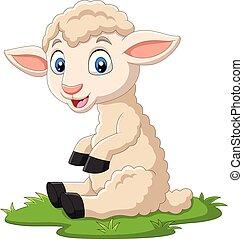 agneau, mignon, herbe, dessin animé, séance