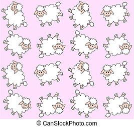 agneau, modèle, seamless