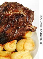 agneau, pommes terre, rôti