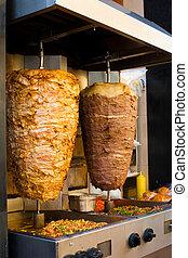 agnello, angolato, carne, griglia, orientale, mezzo, pollo