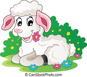 agnello, carino, fiori