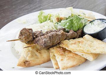 agnello, insalata, kebab, naan, closeup, riso