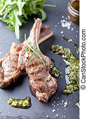 agnello, salad., montone, carne, cotto ferri, fresco, ...