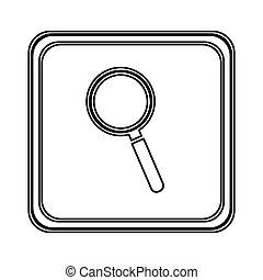 agnifying, glas, emblem, figur, ikone