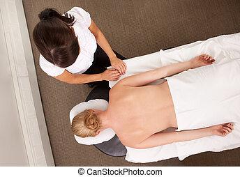 agopuntore, con, paziente