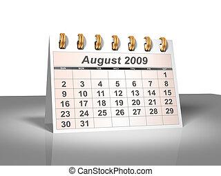 agosto, 2009, calendario de escritorio, (3d).