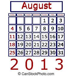 agosto, calendario, 2013