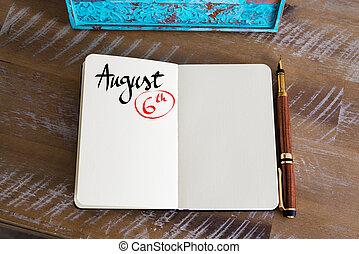 agosto, cuaderno, 6, calendario, día, manuscrito
