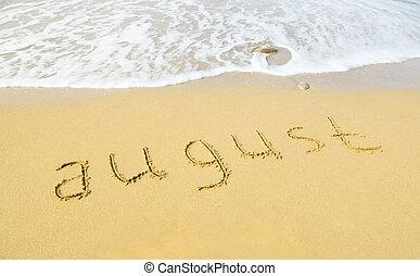 agosto, -, escrito, en, arena, en, playa, textura
