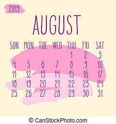 agosto, mensal, pintura, apoplexia, 2019, ano, calendário