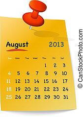 agosto, nota pegajosa, naranja, calendario, 2013
