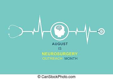 agosto, observado, ilustración, tenerun alcance mayor que, mes, neurocirugía, vector