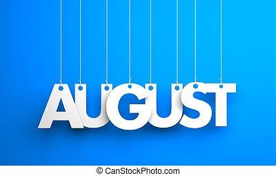 agosto, strings., testo, -, illustrazione, appendere, 3d