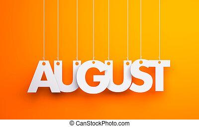 agosto, -, texto, pendurar, a, strings., 3d, ilustração