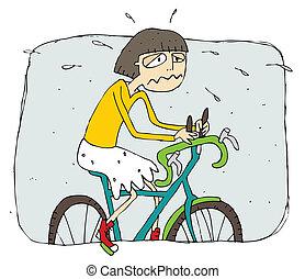 agotado, equitación, niña, bicicleta, caricatura