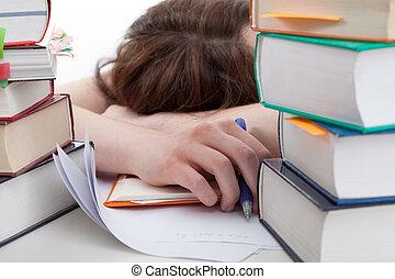 agotado, estudiante, atrás, un, libros