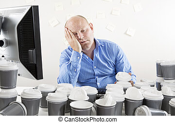agotado, trabajó demasiado, oficina, hombre de negocios