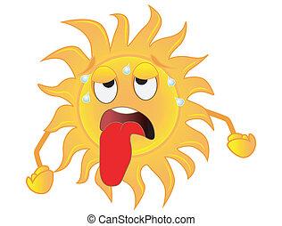 agotado, triste, calor, sol