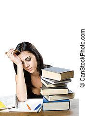 agotado, woman., joven, estudiante
