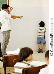 agotador, enojado, niños, profesor, esquina, aula, niño