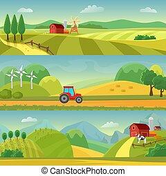 agrárgazdaság, vektor, dombok, megfog, web., farm., gazdálkodás., infographic, tervezés, vidéki, mezőgazdaság, táj, templates.