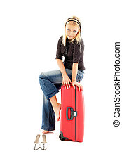 agréable, blonds, rouges, valise