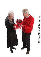 agréable, couples aînés, pour, valentin