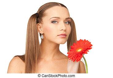 agréable, femme, fleur, rouges