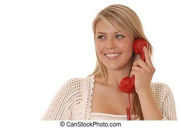 agréable, girl, conversation, sur, téléphone standard