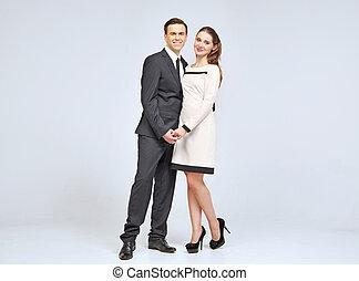 agréable, jeune couple, porter, soir, vêtements