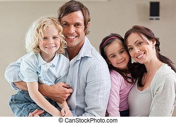agréable, poser, famille, ensemble