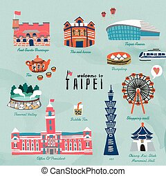 agréable, taiwan, voyage, symboles