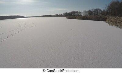 agréable, temps, hiver, lac
