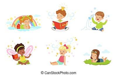 agréable, vecteur, lire, dream., enfants, illustration.