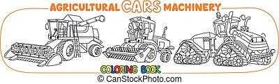 agrícola, coloração, jogo, maquinaria, livro