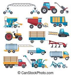 agrícola, conjunto, máquinas, iconos