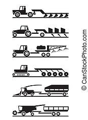 agrícola, conjunto, maquinaria, icono