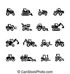 agrícola, conjunto, maquinaria, iconos