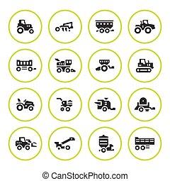 agrícola, conjunto, maquinaria, redondo, iconos