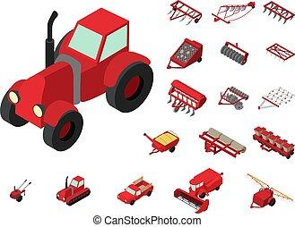agrícola, iconos, conjunto, estilo, isométrico, máquinas